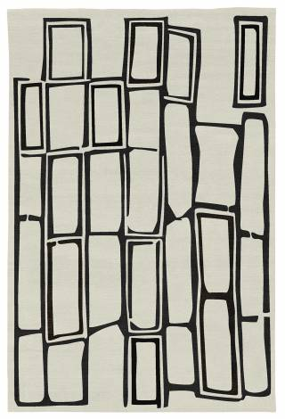 Judy Ross Hand-Knotted Custom Wool Procession Rug cream/black