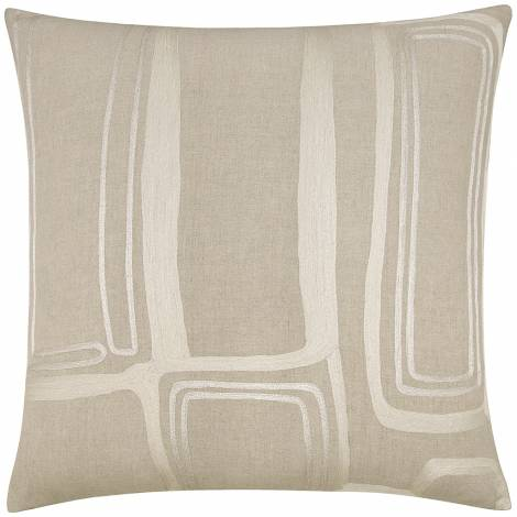 Judy Ross Textiles Embroidered Linen Procession Outlined 24x24 Throw Pillow cream/silver