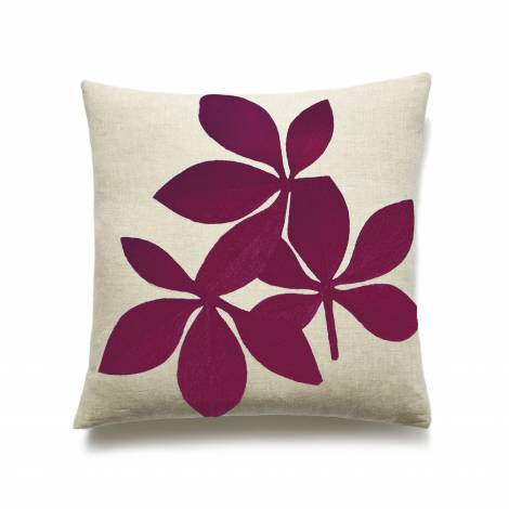 Judy Ross Textiles Hand-Embroidered Chain Stitch Fauna Throw Pillow linen/berry