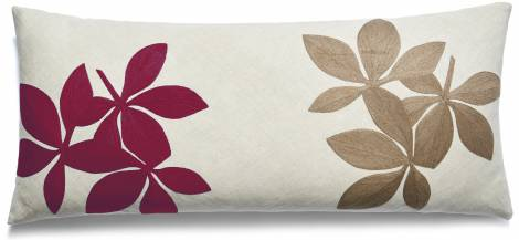 Judy Ross Textiles Hand-Embroidered Chain Stitch Fauna Throw Pillow linen/berry/bark