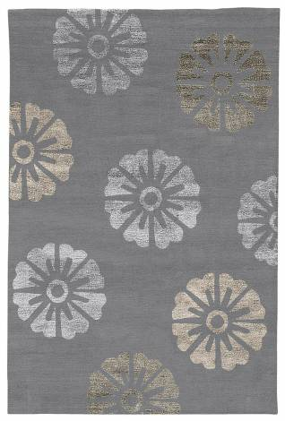 Judy Ross Hand-Knotted Custom Wool Rosette Rug cadet/cadet silk/smoke silk/fig silk