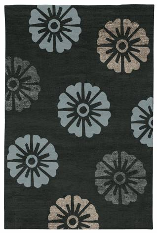 Judy Ross Hand-Knotted Custom Wool Rosette Rug charcoal/celadon/charcoal silk/smoke silk