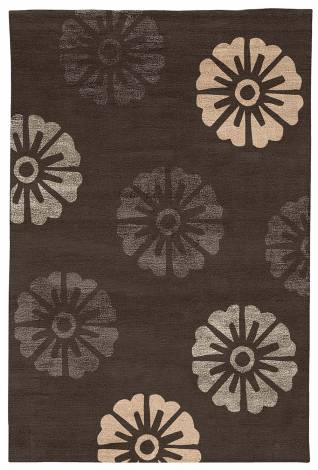 Judy Ross Hand-Knotted Custom Wool Rosette Rug graphite/graphite silk/pewter silk/nude silk