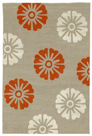 Judy Ross Hand-Knotted Custom Wool Rosette Rug oyster/coral/parchment silk
