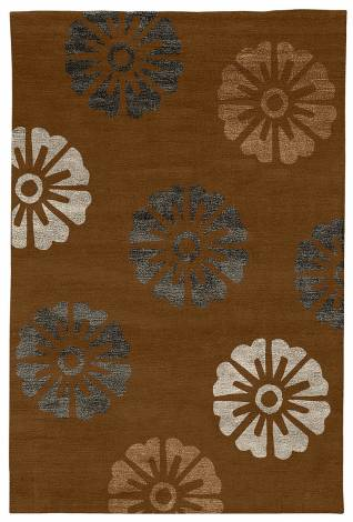 Judy Ross Hand-Knotted Custom Wool Rosette Rug russet/dark fig silk/pewter silk/russet silk