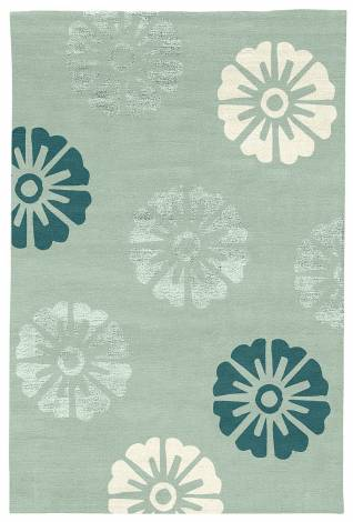 Judy Ross Hand-Knotted Custom Wool Rosette Rug seabreeze/seabreeze silk/seafoam/cream