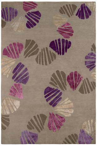Judy Ross Hand-Knotted Custom Wool Shells Rug pewter/Berry silk/purple silk/oyster silk/smoke silk