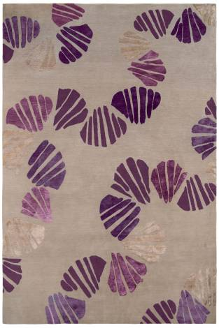 Judy Ross Hand-Knotted Custom Wool Shells Rug pewter/purple silk/mauve silk/lilac silk/pewter silk