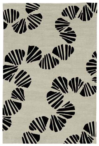 Judy Ross Hand-Knotted Custom Wool Shells Rug parchment/black
