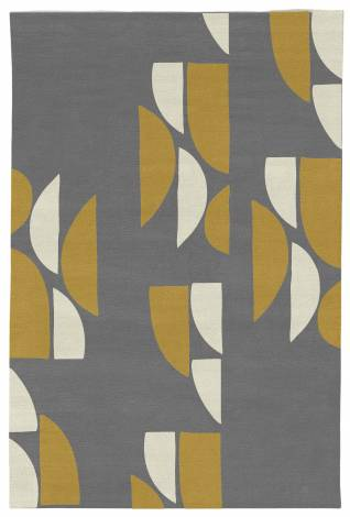 Judy Ross Hand-Knotted Custom Wool Slice Rug charcoal/cream/curry
