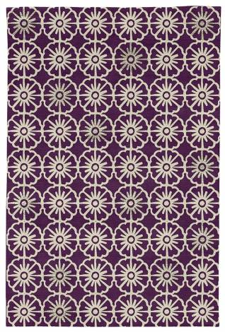 Judy Ross Hand-Knotted Custom Wool Small Pinwheels Rug aubergine/parchment/parchment silk