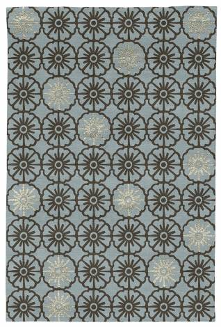 Judy Ross Hand-Knotted Custom Wool Small Pinwheels Rug celadon/chocolate/parchment silk