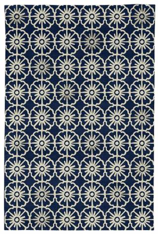 Judy Ross Hand-Knotted Custom Wool Small Pinwheels Rug midnight/parchment/parchment silk