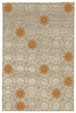Judy Ross Hand-Knotted Custom Wool Small Pinwheels Rug oyster/oyster silk/melon