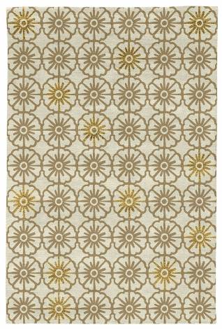 Judy Ross Hand-Knotted Custom Wool Small Pinwheels Rug parchment/blonde silk/gold silk