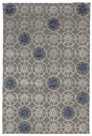 Judy Ross Hand-Knotted Custom Wool Small Pinwheels Rug silver/silver silk/royal silk