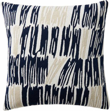 Judy Ross Textiles Hand-Embroidered Chain Stitch Static Throw Pillow cream/navy/oyster