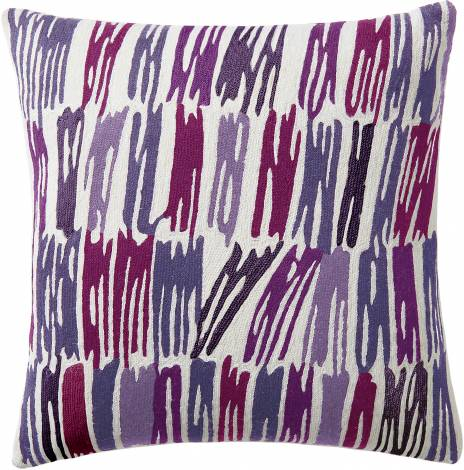 Judy Ross Textiles Hand-Embroidered Chain Stitch Static Throw Pillow cream/syren/lilac/claret/aubergine/purple