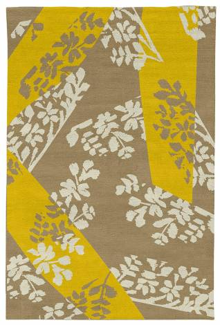 Judy Ross Hand-Knotted Custom Wool Stencil Rug blonde/buttercup/parchment