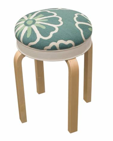 Judy Ross Textiles Hand-made Stool Pinwheel Seafoam Furniture cream/seabreeze
