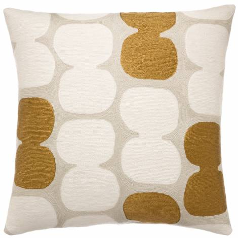 Judy Ross Textiles Hand-Embroidered Chain Stitch Tabla Throw Pillow oyster/cream/gold rayon
