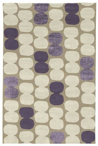 Judy Ross Hand-Knotted Custom Wool Tabla Rug oyster/parchment/grape silk/grape