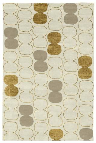 Judy Ross Hand-Knotted Custom Wool Tabla Outlined Rug parchment/gold silk/oyster