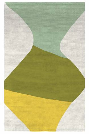 Judy Ross Hand-Knotted Custom Wool Totem Rug cream/celery/spring green/yellow