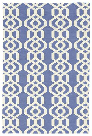 Judy Ross Hand-Knotted Custom Wool Trellis Rug cornflower/cream