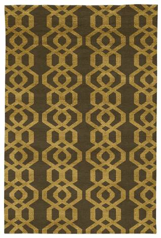 Judy Ross Hand-Knotted Custom Wool Trellis Rug fig/gold silk