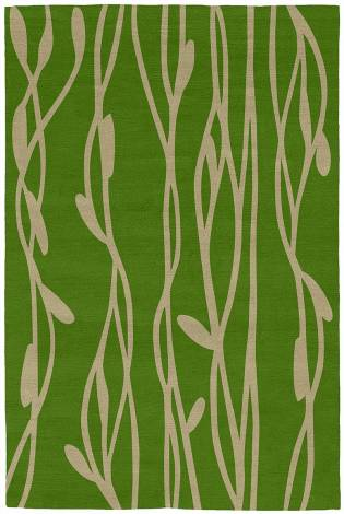 Judy Ross Hand-Knotted Custom Wool Vines Rug asparagus/sand