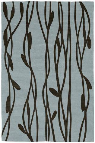 Judy Ross Hand-Knotted Custom Wool Vines Rug celadon/chocolate