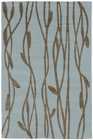 Judy Ross Hand-Knotted Custom Wool Vines Rug celadon/stone silk
