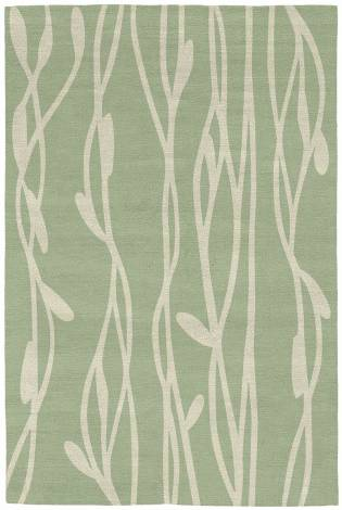 Judy Ross Hand-Knotted Custom Wool Vines Rug celery/parchment