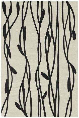 Judy Ross Hand-Knotted Custom Wool Vines Rug cream/black