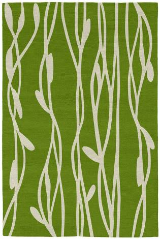 Judy Ross Hand-Knotted Custom Wool Vines Rug lime/parchment