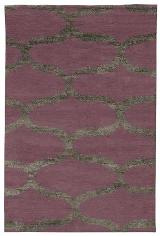 Judy Ross Hand-Knotted Custom Wool Waves Rug mulberry/dark fig silk