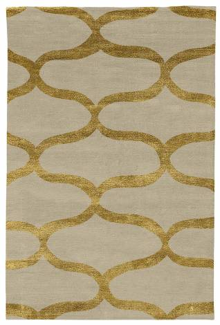 Judy Ross Hand-Knotted Custom Wool Waves Rug oyster/gold silk