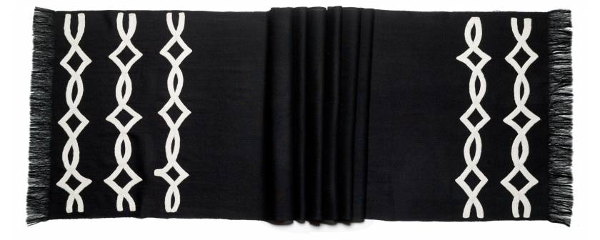Judy Ross Textiles Hand-Embroidered Wool Acrobat Scarf black/cream