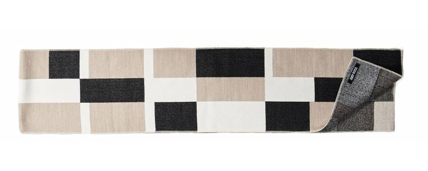 Judy Ross Textiles Hand-Embroidered Wool Blocks Scarf cream/charcoal/beige