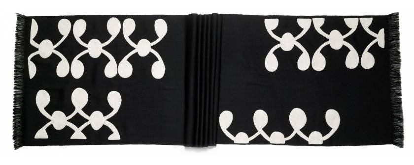 Judy Ross Textiles Hand-Embroidered Wool Celine Scarf black/cream