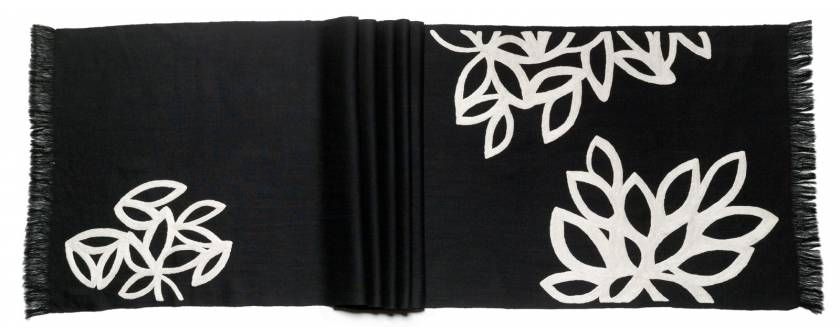 Judy Ross Textiles Hand-Embroidered Wool Lagoon Scarf black/cream