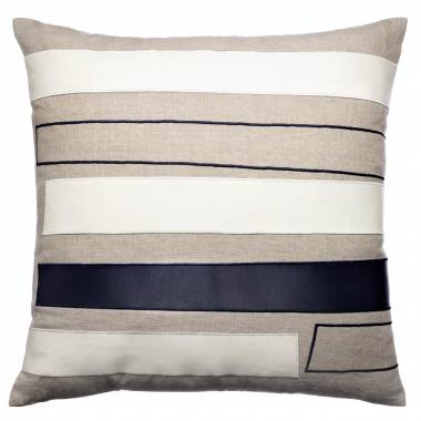 Judy Ross Textiles Embroidered Linen Bars Outlined Throw Pillow cream leather/navy leather