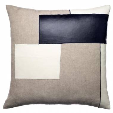 Judy Ross Textiles Embroidered Linen Block Throw Pillow cream leather/navy leather