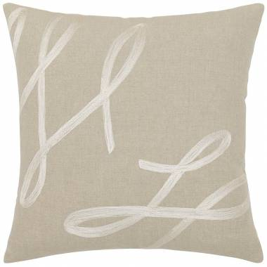 Judy Ross Textiles Embroidered Linen Cheerleader Throw Pillow cream