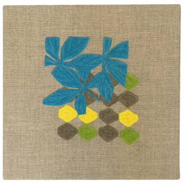 Judy Ross Textiles Hand-Embroidered Linen Fauna Lattice Panel peacock/grey/lemon/lime
