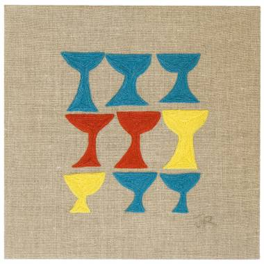 Judy Ross Textiles Hand-Embroidered Linen Goblet Panel peacock/red/lemon