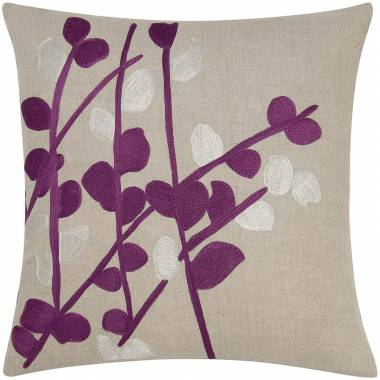 Judy Ross Textiles Embroidered Linen Spray Throw Pillow grape/silver