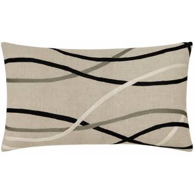 Judy Ross Textiles Embroidered Linen Streamers 24x14 Throw Pillow black/pewter/cream