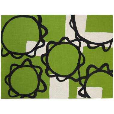 Judy Ross Textiles Hand-Embroidered Linen Sunflower Panel lime/black/cream